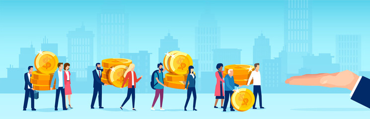 Tuinposter Cartoon cars Vector of people caring giving away coins money to a big business man