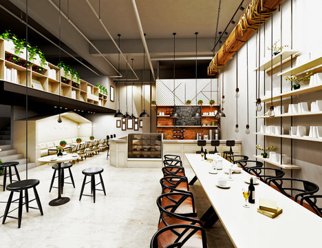 3d render of modern cafe restaurant