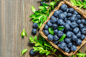 Fresh blueberries background with copy space for your text. Blueberry antioxidant organic superfood in a bowl concept for healthy eating and nutrition Fototapete