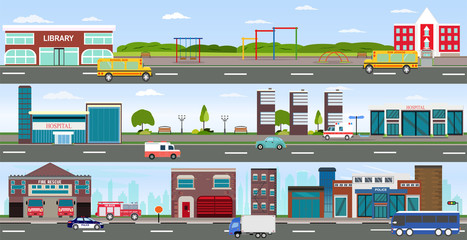 Vector of urban cityscape and rural area with modern buildings, skyscrapers, houses, hospital, fire department, police station, school, library and passing by cars and buses.