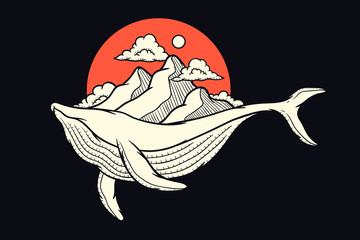 Whale with mountain illustration suitable for print design