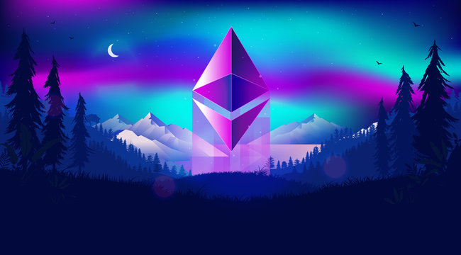 Ethereum symbol rising - cryptocurrency shooting up to the sky in a magical landscape, with northern lights and cold beautiful landscape. Bullish outlook for digital money concept. Illustration.