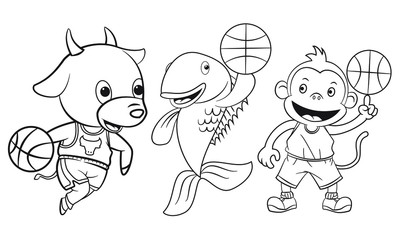 collection of cartoon animals playing basketball used for coloring book