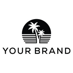 beach modern black icon logo design
