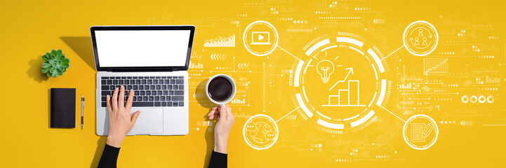 Content marketing concept with person using a laptop computer Wall mural