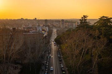 Sunset wiew from the Viaduct of Segovia (Madrid, Spain)