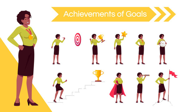 Woman setting goals flat vector illustrations set. Female office worker moving up career ladder isolated cartoon one character kit. Triumphant businesswoman achieving aims, gaining recognition