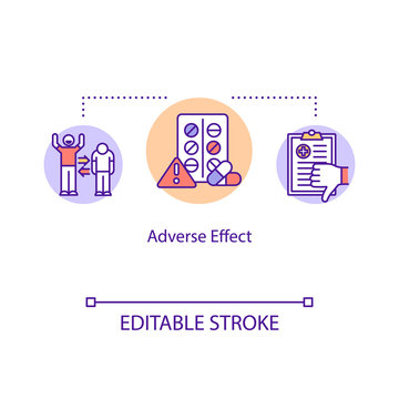 Adverse effect concept icon. Undesired harmful consequences idea thin line illustration. Side effect. Medical error. Vector isolated outline RGB color drawing. Editable stroke