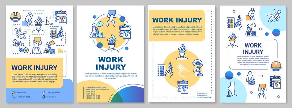 Work injury, industrial traumatism brochure template. Flyer, booklet, leaflet print, cover design with linear icons. Vector layouts for magazines, annual reports, advertising posters