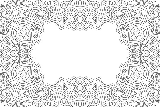 Art for coloring book page with abstract border