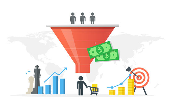 Generating new clients and sales growth flat vector concept. Purchase funnel and lead generation in digital marketing.