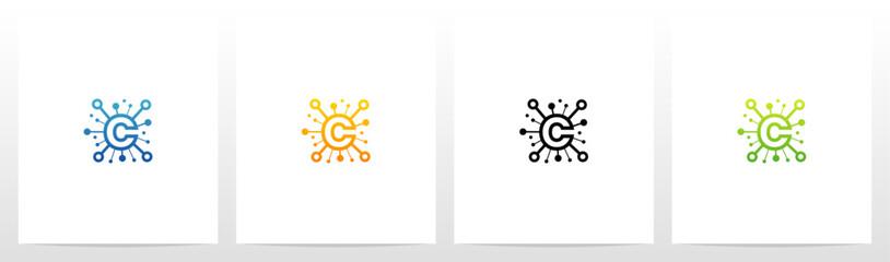Network Symbol On Letter Logo Design C