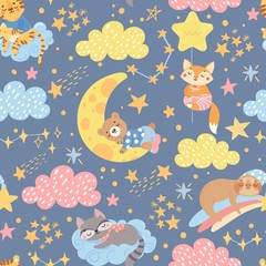 Seamless pattern with cute sleeping animals on moon and star. Good night and sweet dreams. Cartoon kids texture and background. Vector illustration