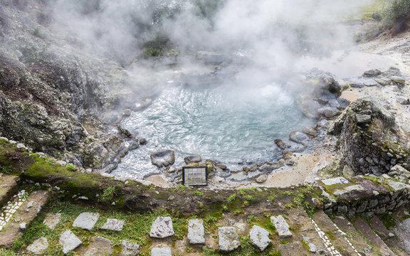 Hot water springs at Furnas fumaroles in Sao Miguel, Azores, Portugal