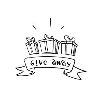 hand drawn Giveaway for promo in social network, advertizing of giving present, like or repost isolated icon vector. Business account, gift box, winner. Social media post, surprise package doodle
