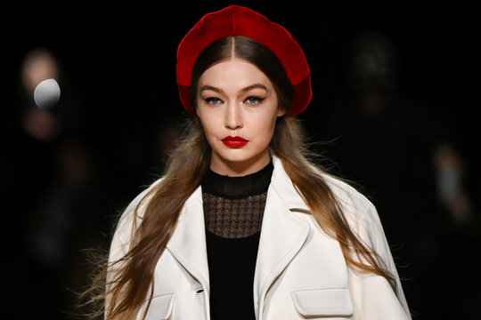 Gigi Hadid presents a creation from the Marc Jacobs Fall/Winter 2020 collection during New York Fashion Week