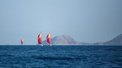 Fototapete - Sailing yacht Regatta at the Aegean Sea, Greece.