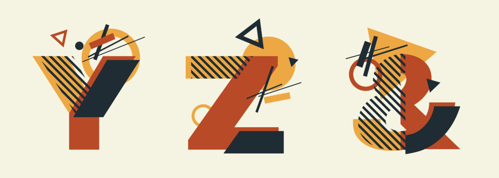 Vector Constructivism Abstract Alphabet Set - letters Y, Z, & ampersand with geometric composition. For wedding invitations, decoration, flyers, banners, magazines, posters. Conceptual Avant garde.