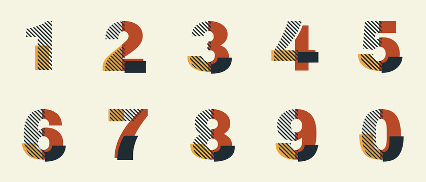 Vector Constructivism Abstract Number Set - digits 1, 2, 3, 4, 5, 6, 7, 8, 9, 0 with geometric composition. Unique collection for wedding invites, flyers, banners, posters, magazines, conceptual ideas
