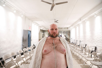 A model rehearses before the first Ryan's Secret men's underwear collection during New York Fashion Week