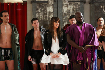Designer Myriam Chalek and models listen to each other about why the show is important after presenting creations from the first Ryan's Secret men's underwear collection during New York Fashion Week