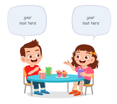 happy cute little kids boy and girl lunch together