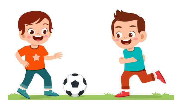 happy cute little kid boy play soccer