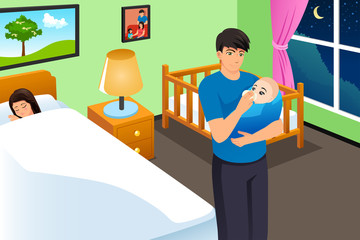 New Father Feeding His Baby While Mother is Sleeping Vector Illustration
