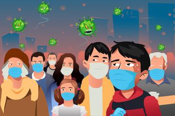 Virus Epidemic Attacking People Wearing Masks Vector Illustration