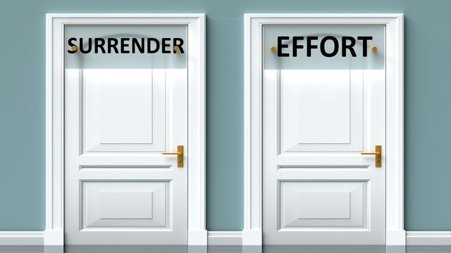Surrender and effort as a choice - pictured as words Surrender, effort on doors to show that Surrender and effort are opposite options while making decision, 3d illustration