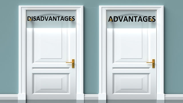 Disadvantages and advantages as a choice - pictured as words Disadvantages, advantages on doors to show that Disadvantages and advantages are opposite options while making decision, 3d illustration