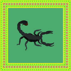 Scorpion color illustration in egyptian ornament frame. Vector.