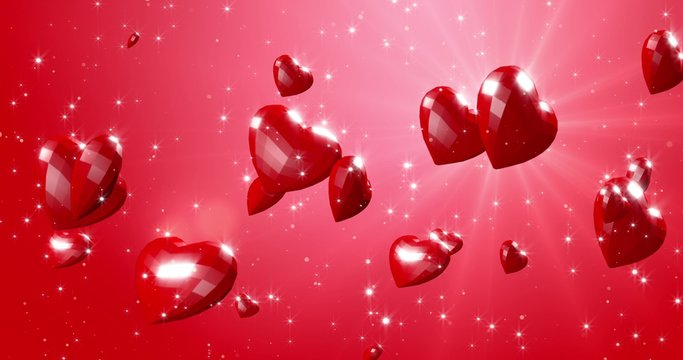 Romantic red polygonal flying hearts in ray of light. Valentines Day. Red event background. 3D rendering illustration