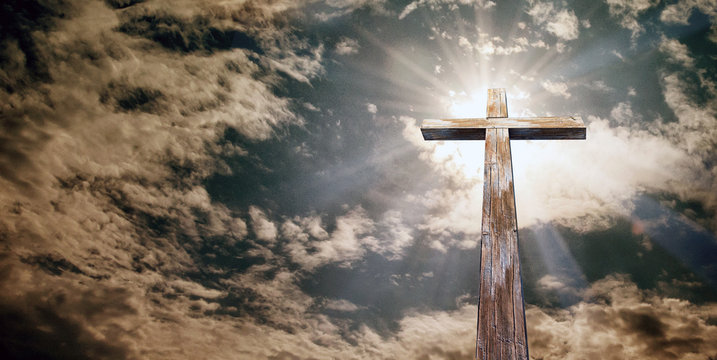 Christian cross on the background of the sky with clouds, Holy easter. Christian symbol of faith, 3D illustration
