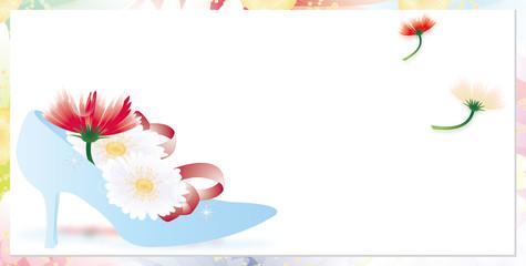 ガーベラのカラフルな花とガラスの靴のイラストバナー素材