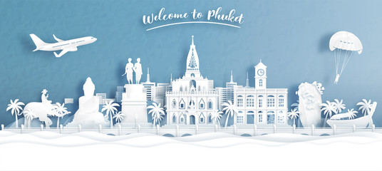 Fototapete - Welcome to Phuket, Thailand with view of city skyline in travel concept for tour, travel advertising. Vector illustration.