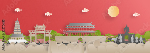 Fototapete Panorama view of Xian city skyline with world famous landmarks of China in paper cut style vector illustration.