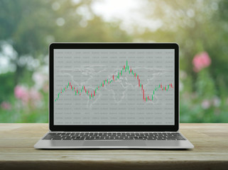 Trading graph of stock market with world map and graph on modern laptop computer on wooden table over blur pink flower and tree in garden, Business investment online concept, Elements of this image fu