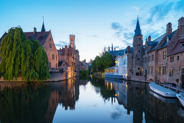 Bruges old town at night in Belgium