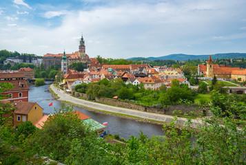 Cesky Krumlov skyline in Czech Republic