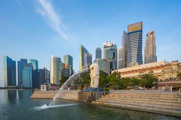 Blue nice sky with Merlion park and landmark buidings in Singapore city, Singapore
