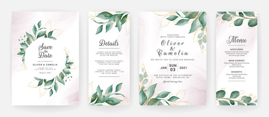 Obraz Wedding invitation card template set with watercolor gold leaves decoration. Floral background for save the date, greeting, menu, details, poster, cover, etc. Botanic illustration vector - fototapety do salonu