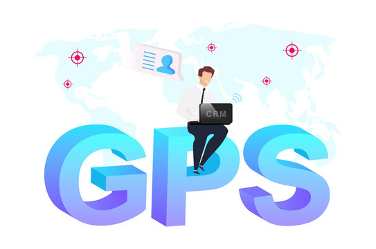 Geolocation technology flat concept vector illustration. Businessman sitting on word GPS 2D cartoon characters for web design. Geographic marketing campaigns. Location based services creative idea