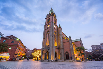 Seoul skyline wuth Myeongdong Cathedral at night in Seoul city, South Korea