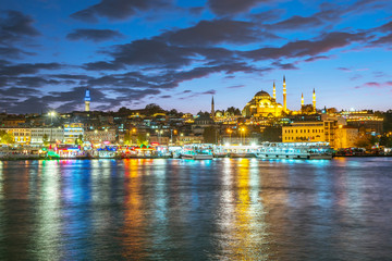 Istanbul cityscape skyline at night in Istanbul, Turkey