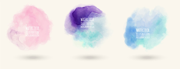 Colors watercolor paint stains vector backgrounds