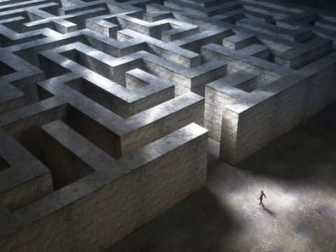 Man entering a huge mysterious maze. 3D Rendering