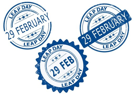 29 February Leap Day, leap year - blue stamp on a white background.