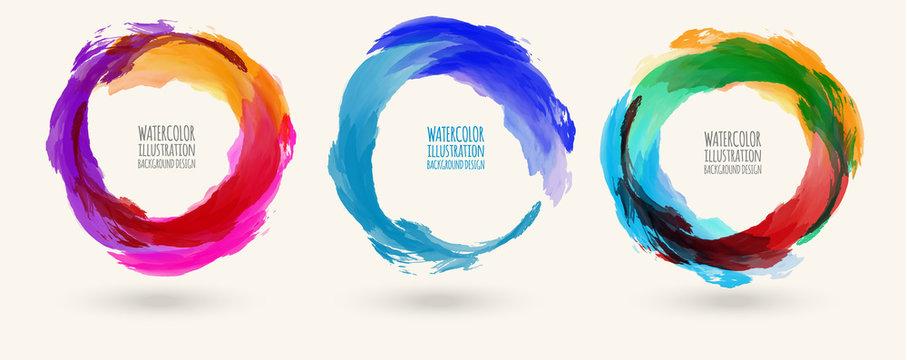 Watercolor circle texture set. Vector circle elements