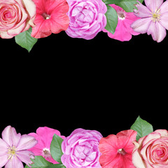 Fototapete - Beautiful floral pattern of roses, petunias and clematis. Isolated